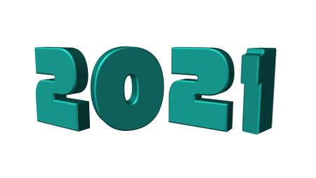 3d illustration green text with the number 2021 and embossed in black, with a background with a Bokeh effect, out of focus, in different colors with a space for text. Happy New Year 2021.