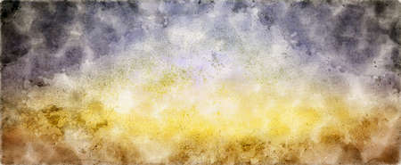 Colorful watercolor background of abstract sunset sky with puffy clouds in bright rainbow colors of blue purple yellow and soft white center blur Stock fotó