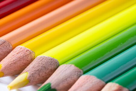 close up of colour pencils on white background Imagens