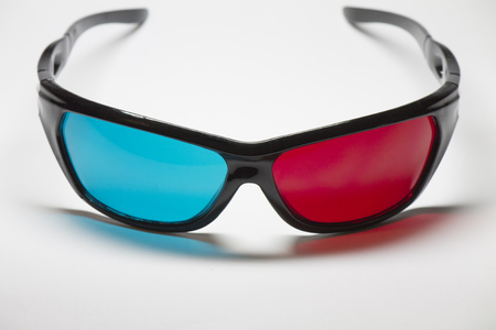 three dimensions: Color anaglyph glasses to view the 3D movies in the cinema Stock Photo