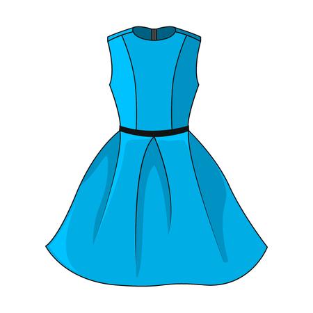 Icono de elegante vestido azul. Hermoso vestido azul corto con cinturón negro / gris oscuro, aislado sobre fondo blanco. Vestido de fiesta sin mangas. Ilustración vectorial EPS10. Ilustración de vector