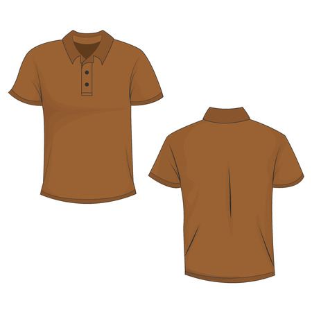 Front and back view of brown polo (t-shirt). Isolated on white background. Template and mockup of polo for print. Vector illustration, EPS10.