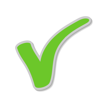 Check mark sticker, Green Tick. Button for vote YES (applyapprove). Vector illustration, EPS10. Ilustração