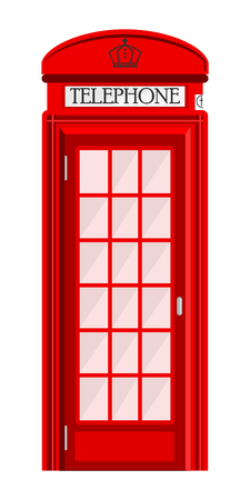 Street phone booth isolated on white background. Typical telephone box.