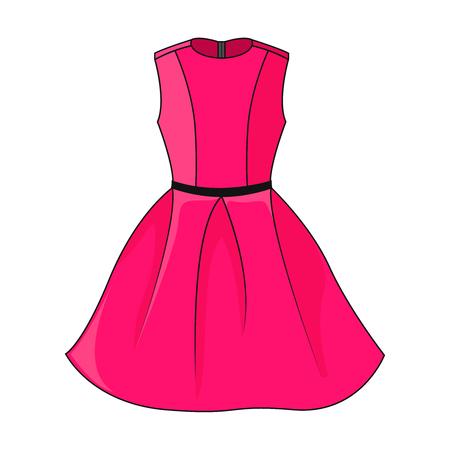 Icône de robe élégante pourpre / rose. Belle robe courte pourpre/rose avec ceinture noire/gris, isolée sur fond blanc. Robe de fête sans manches. Illustration vectorielle, Eps10.