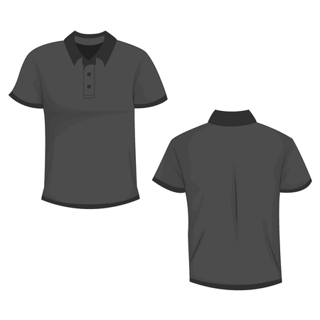 Black  dark gray polo t-shirt mock up, front and back view, isolated on white background. Design polo shirt, template and mockup for print. Vector illustration, EPS10.