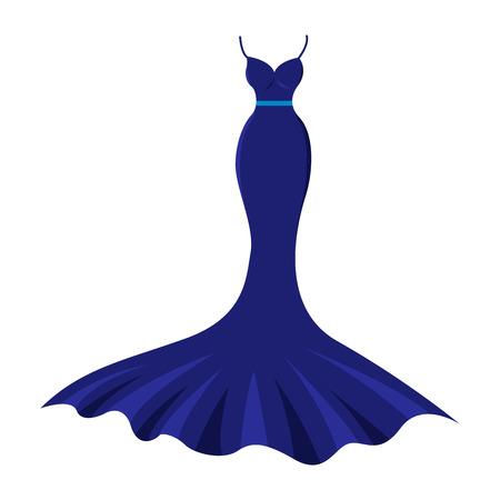 The long nice dark blue evening dress, isolated on white background. Vector illustration, EPS10. Illustration