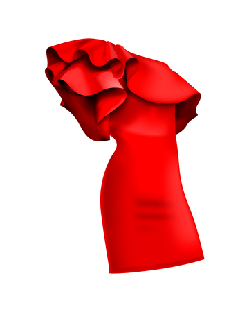A beautiful stylish red dress with rufflesfrills. Fashionable dresses - ruffle and valance, beautiful models of dresses for womens fashion. Vector illustration, EPS10. Çizim