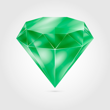 Realistic green round gem - emerald. Colorful gemstone Stock Illustratie
