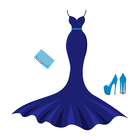 Set of fashion evening clothes. Woman trendy and stylish clothing. Evening dark blue dress, shoes, handbag - clutch. Vector illustration, EPS10.