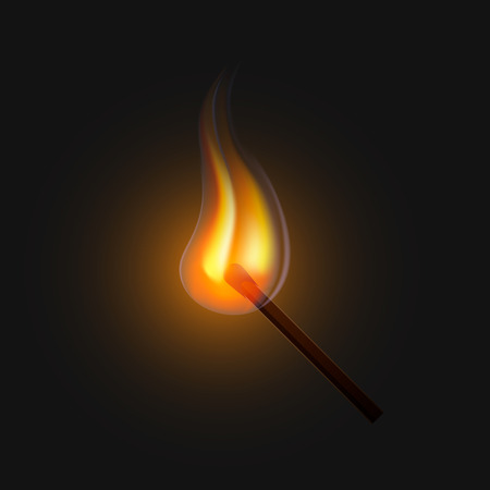 Burning match on a black background for design. Realistic fire. Vector illustration, EPS10.