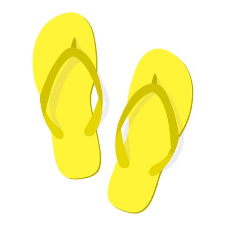 Zapatillas de verano amarillas sobre fondo blanco. Icono aislado de chanclas. Diseño plano. Ilustración vectorial EPS10.