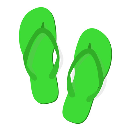 fe65c4f8a Green summer slippers on white background. Flip-flops isolated icon. Flat  design.