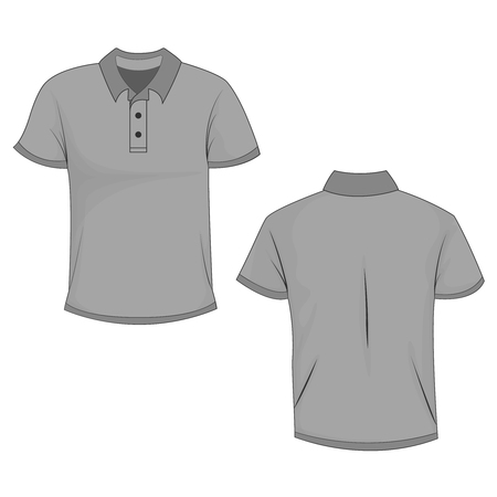 Gray polo t-shirt mock up, front and back view, isolated on white background. Design polo shirt, template and mockup for print. Vector illustration, EPS10.