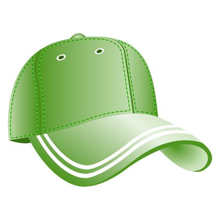 Green baseball cap icon. Flat symbol, isolate on a white background. Vector illustration, EPS10.