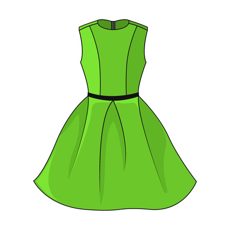 Elegant green dress icon. Beautiful short green dress with black/dark gray belt, isolated on white background. Festive dress without sleeves. Vector illustration, EPS10.