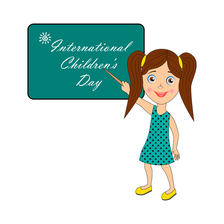 Image with text. Congratulatory inscription: International Childrens Day. Pictures for banner design, signage, greeting card. Vector illustration, EPS10.
