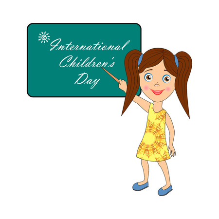Image with text. Congratulatory inscription: International Children's Day. Pictures for banner design, signage, greeting card. Vector illustration, EPS10.