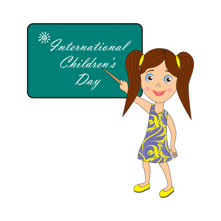 Image with text. Congratulatory inscription: International Childrens Day.  Pictures for banner design, signage, greeting card. Stock Illustratie
