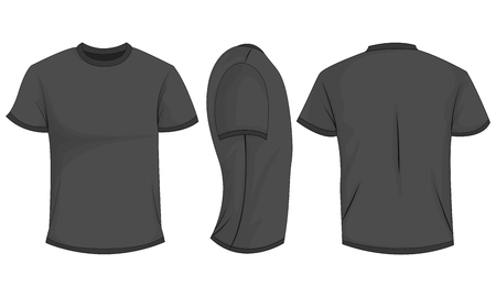 Black/dark gray mens t-shirt with short sleeves. Front, back, side view. Isolated on white background. Vector illustration, EPS10.