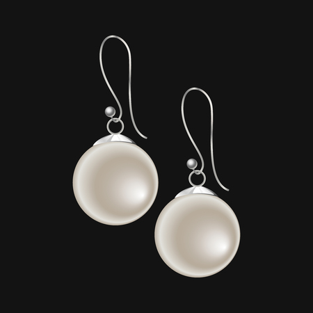 Realistic pearl earrings isolated on black background. Vector illustration, EPS10. Ilustrace