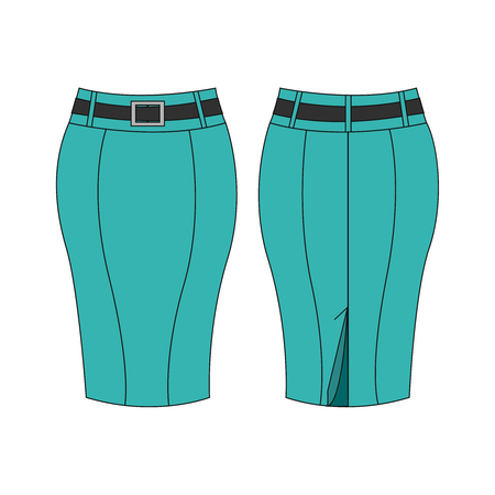 Turquoise pencil skirt isolated on white background, front and back view. Vector illustration, EPS10.