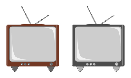 Retro TV without remote control, isolated on white background. Vector illustration, EPS10. Ilustrace