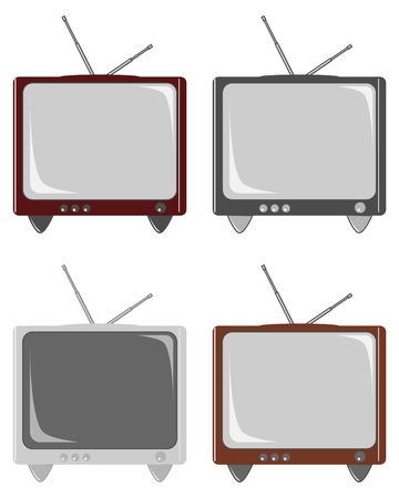 Retro TVs set. TVs without remote control, isolated on white background. Vector illustration, EPS10. Ilustrace