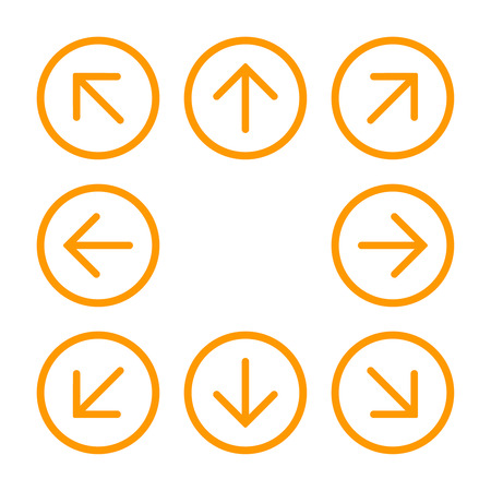 8eight orange arrows in circle with different directions. Vector illustration, EPS10. Stock Illustratie