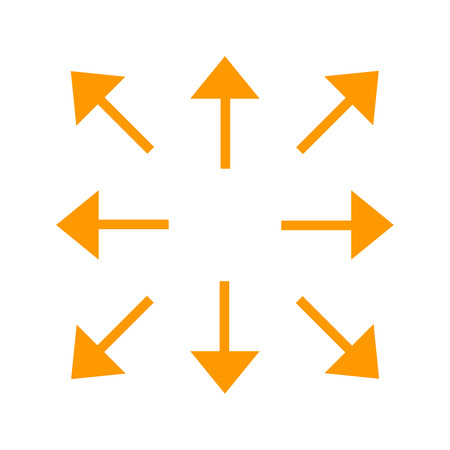 Orange long arrows in 8/eight different directions. Vector illustration, EPS10.
