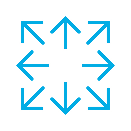Blue simple arrows in 8/eight different directions. Vector illustration, EPS10.