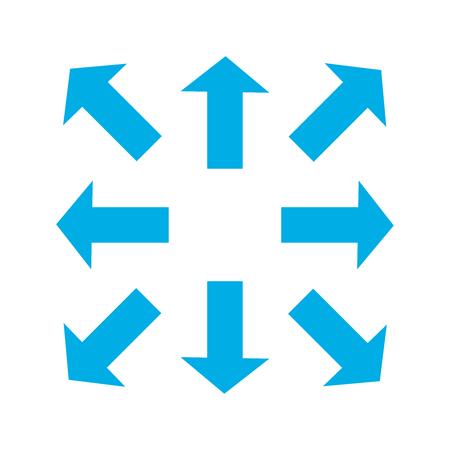Blaue dünne Pfeile in 8/acht verschiedenen Richtungen. Vektorabbildung, EPS10. Vektorgrafik