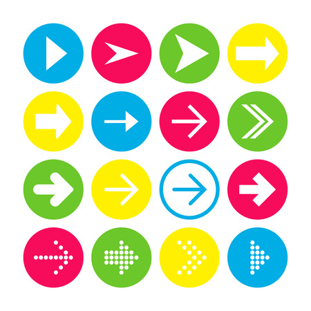 Set of 16 right arrow icons. Arrow buttons on white background in crimson, blue, yellow and transparent circles for web-design, applications and other. Vector illustration, EPS10.
