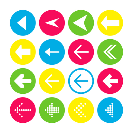 Set of 16 left arrow icons. Arrow buttons on white background in crimson, blue, yellow and transparent circles for web-design, applications and other. Vector illustration, EPS10.