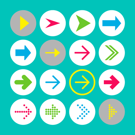 Set of 16 rigth arrow icons. Arrow buttons on turquoise background in white, gray and transparent circles for web-design, applications and other. Vector illustration, EPS10.