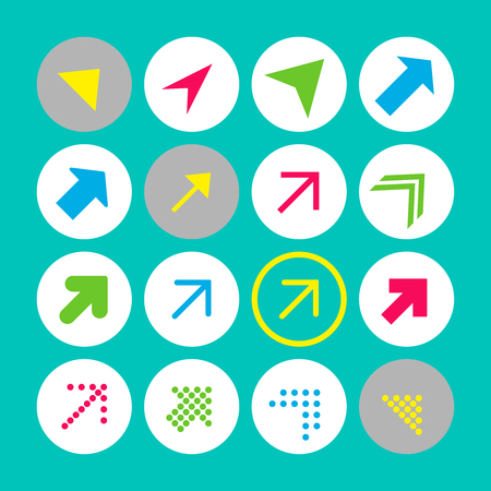 Set of 16 arrow icons with north-east direction. Arrow buttons on turquoise background in white, gray and transparent circles for web-design, applications and other. Vector illustration, EPS10.