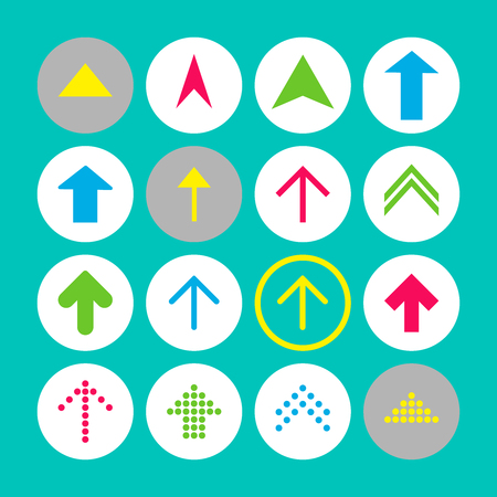 Set of 16 up arrow icons. Arrow buttons on turquoise background in white, gray and transparent circles for web-design, applications and other. Vector illustration, EPS10.