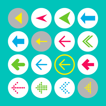 Set of 16 left arrow icons. Arrow buttons on turquoise background in white, gray and transparent circles for web-design, applications and other. Vector illustration, EPS10. Stock Illustratie