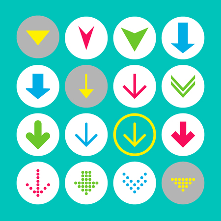 Set of 16 down arrow icons. Arrow buttons on white background in crimson, blue, yellow and transparent circles for web-design, applications and other. Vector illustration, EPS10. Stock Illustratie