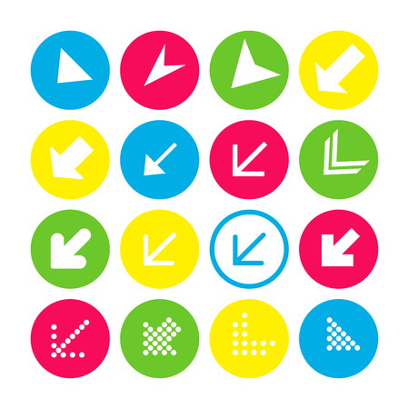 Set of 16 arrow icons with south-west direction. Arrow buttons on white background in crimson, blue, yellow and transparent circles for web-design, applications and other. Vector illustration, EPS10.