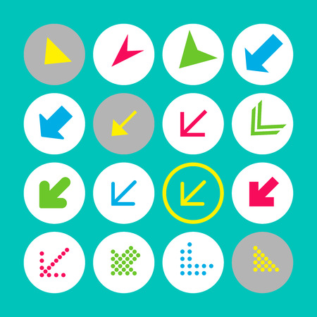 Set of 16 arrow icons with south-west direction. Arrow buttons on turquoise background in white, gray and transparent circles for web-design, applications and other. Vector illustration, EPS10. Stock Illustratie