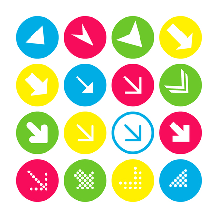 Set of 16 arrow icons with south-east direction. Arrow buttons on white background in crimson, blue, yellow and transparent circles for web-design, applications and other. Vector illustration, EPS10.
