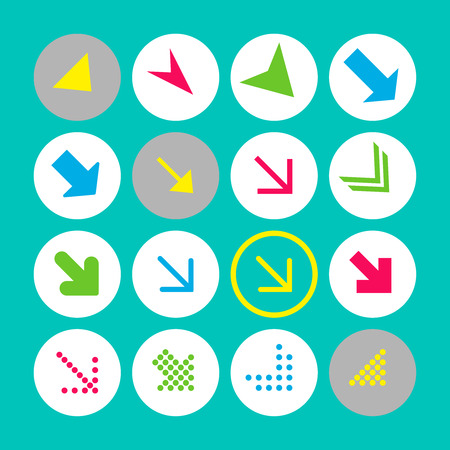 Set of 16 arrow icons with south-east direction. Arrow buttons on turquoise background in white, gray and transparent circles for web-design, applications and other. Vector illustration, EPS10.