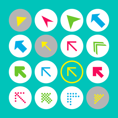 Set of 16 arrow icons with north-west direction. Arrow buttons on turquoise background in white, gray and transparent circles for web-design, applications and other. Vector illustration, EPS10.