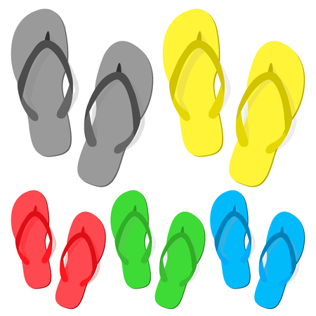 Set of summer slippers on white background. Set flip-flops isolated icon. Flat design. Vector illustration, EPS10.