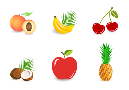 Set of fruits isolated on a white background. Whole and pieces. Banana, pineapple, coconut, peach, apple, cherries. Vector illustration, EPS10.