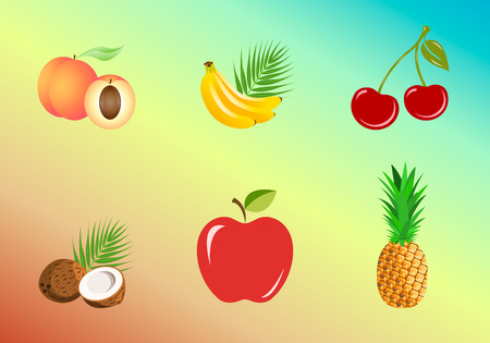 Set of fruits isolated on a color background. Banana, pineapple, coconut, peach, apple, cherries. Vector illustration, EPS10. Stock Illustratie