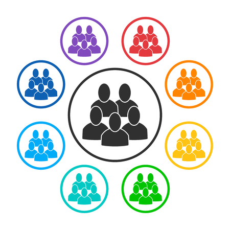 Set of group icons with 5 peoples. Rainbow colors: red, orange, yellow, green, turquoise, blue, dark blue, violet. Style is flat graphic gray and colorful symbols. Vector illustration, EPS10