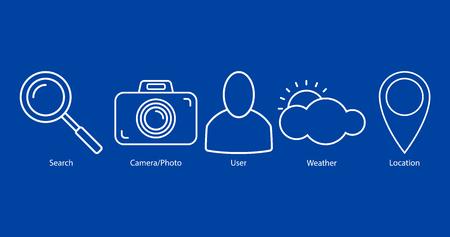 Ensemble d'icônes de contour : recherche, appareil photo/photo, utilisateur, météo, emplacement sur fond bleu. Illustration vectorielle, Eps10.