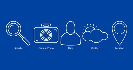 Set of outline icons: search, camera/photo, user, weather, location on blue background. Vector illustration, EPS10. Banque d'images - 117370336
